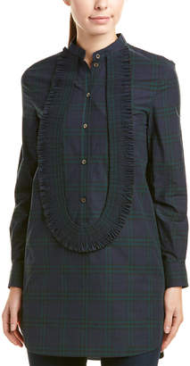 Burberry Ruffled Check Cotton Tunic Shirt