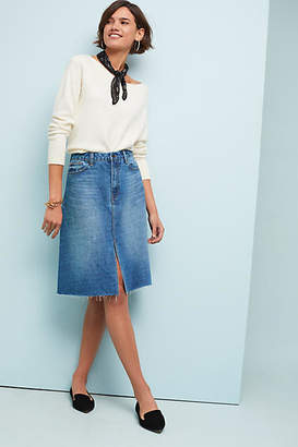 Habitual Pleated Plaid Denim Skirt