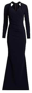 Talbot Runhof Women's Long-Sleeve Crepe Gown