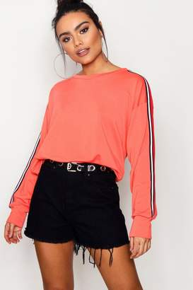 boohoo Sports Stripe Batwing Sweat