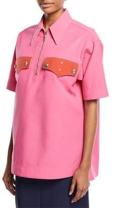 Calvin Klein Half-Zip Short-Sleeve Boxy Shirt
