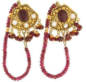 22K Amber Ruby & Garnet Drop Earrings