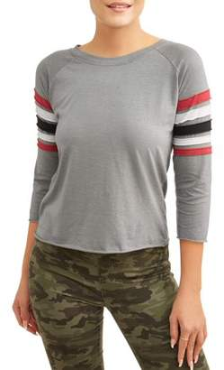 No Comment Women's 3/4 Sleeve Color Block Striped T-Shirt