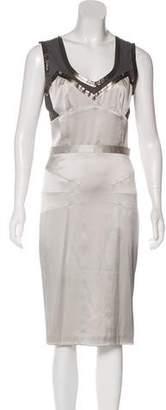Dolce & Gabbana Leather-Trimmed Silk Dress