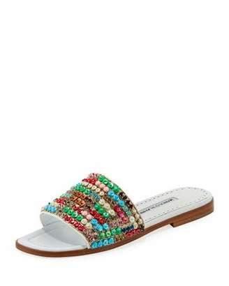 Manolo Blahnik Gioiosa Embellished Flat Slide Sandal