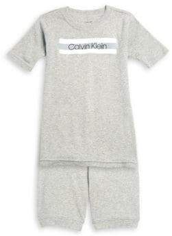 Calvin Klein Little Boy's& Boy's Two-Piece Tee& Shorts Pajama Set
