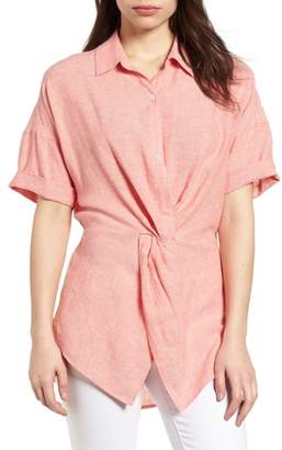 Caslon Twist Front Linen Blend Shirt