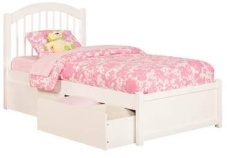 Atlantic Furniture Windsor Twin XL Platform Bed with Flat Panel Footboard and 2 Urban Bed Drawers in Multiple Colors
