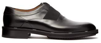 Fendi Logo Edged Leather Oxford Shoes - Mens - Black