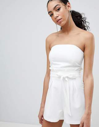 Missguided Bandeau Paperbag Tie Waist Romper