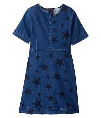 Stella McCartney Short Sleeve Spread Stars Denim Dress (Toddler/Little Kids/Big Kids)