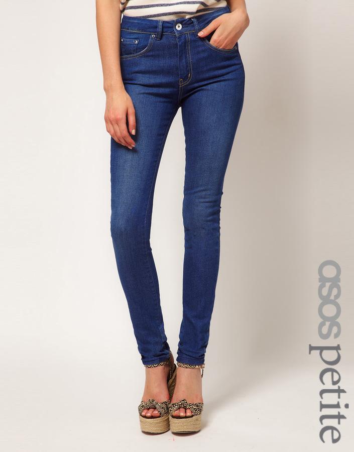 True Blue ASOS PETITE High Waist Skinny Jeans in Vintage