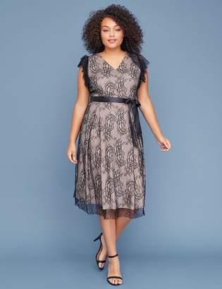 Lane Bryant Lace Fit & Flare Midi Dress