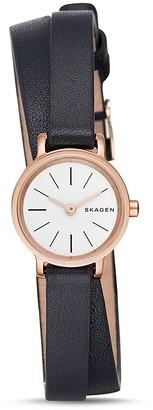 Skagen Hagen Double Wrap Leather Strap Watch, 20mm $155 thestylecure.com