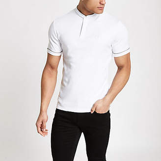 River Island Mens White check piped wasp embroidered polo shirt