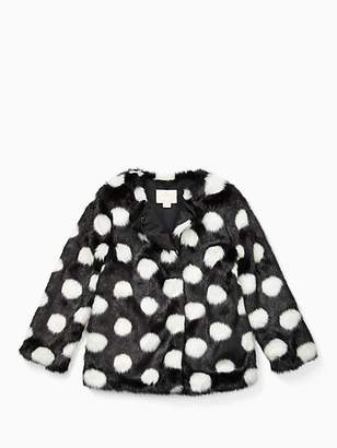 Kate Spade Girls polka dot faux fur coat