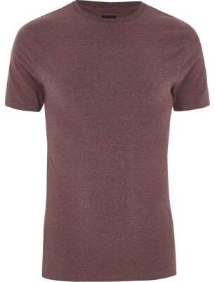 River Island Mens Dark pink muscle fit crew neck T-shirt