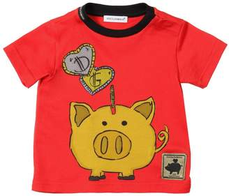 Dolce & Gabbana Piggy Bank Print Cotton Jersey T-shirt