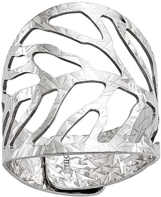 Italian Silver Leaf Design Adjustable Ring