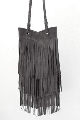 Areias Leather Gray Fringes Bag