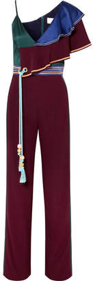 Peter Pilotto Asymmetric Color-block Cady And Satin Jumpsuit - Burgundy