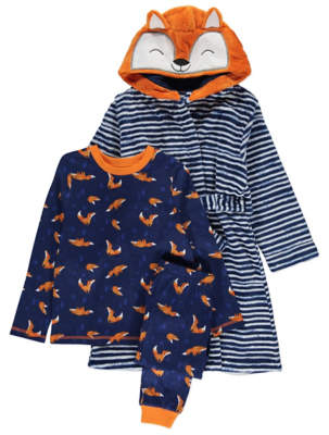 George Fox Print Pyjamas and Dressing Gown Set