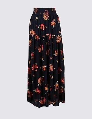 Marks and Spencer Floral Print Crinkle Full Maxi Skirt