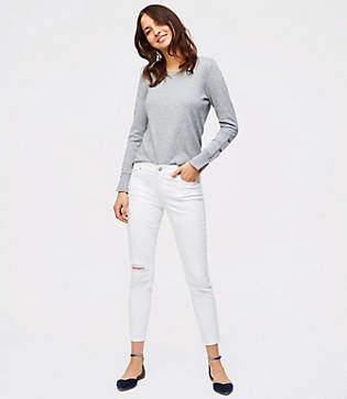 LOFT Modern Destructed Skinny Jeans in White