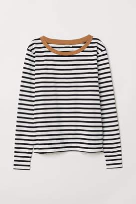 H&M Striped Jersey Top - Beige
