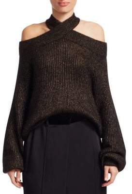 Brunello Cucinelli Criss Cross Lurex-Knit Sweater