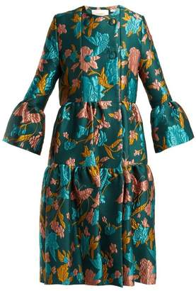La Doublej - Bouncy Lilium Verde Floral Brocade Coat - Womens - Green Multi
