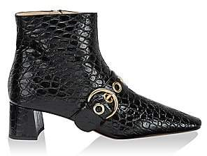 Prada Women's Buckle Croc-Embossed Leather Ankle Boots