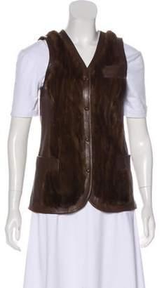 Dolce & Gabbana Fur & Leather Vest Brown Fur & Leather Vest