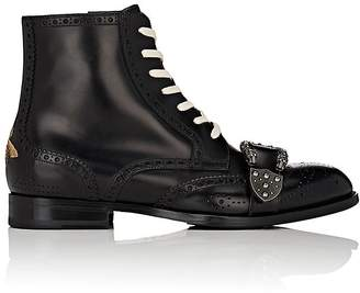 Gucci Men's Dionysus Buckle-Strap Leather Wingtip Boots