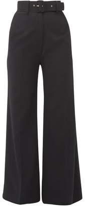 Emilia Wickstead Jana Belted Crepe Wide Leg Trousers - Womens - Black