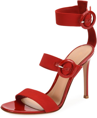 Gianvito Rossi Velvet Three-Strap Sandals