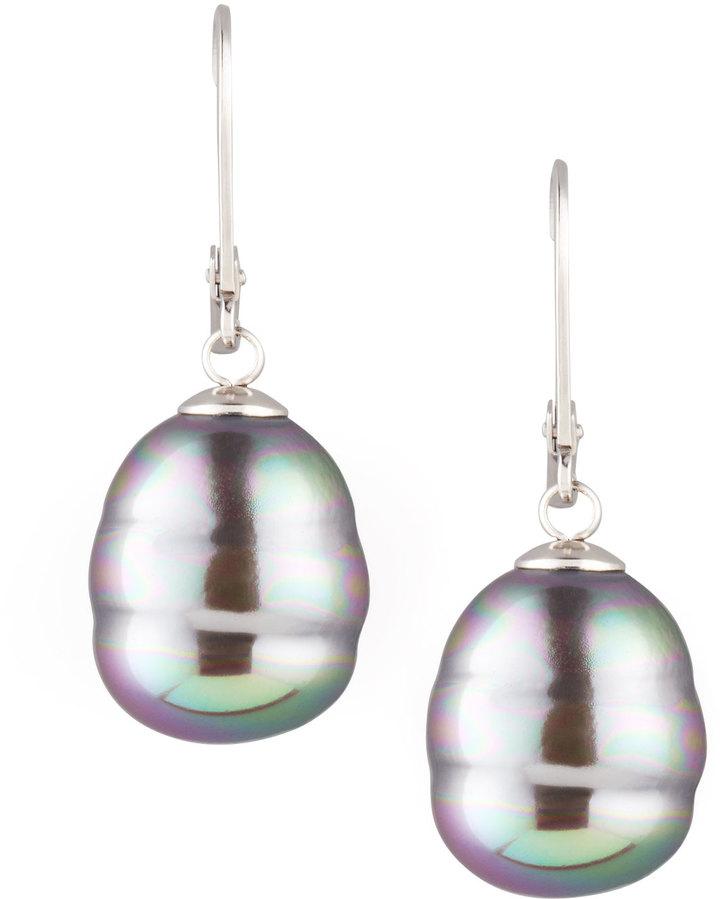 Majorica JEWELRY LTD Baroque Pearl Drop Earrings, Gray