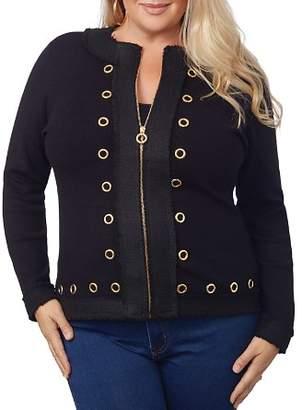 Belldini Plus Grommet-Trimmed Zip Jacket