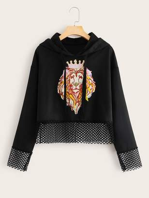 Shein Lion Print Fishnet Panel Drawstring Hoodie