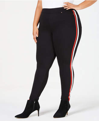 Hue Plus Size Racer Stripe Original Denim Leggings