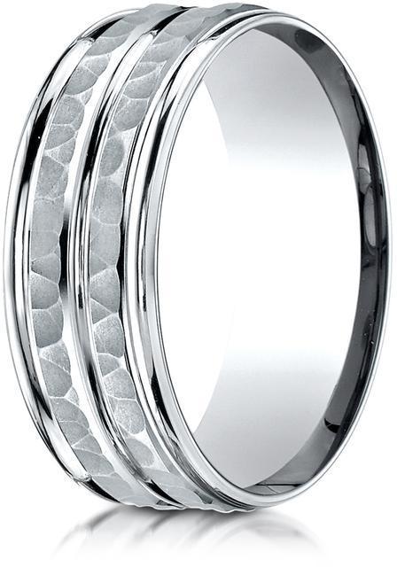 Benchmark 10K White Gold 8mm Comfort-Fit Center Trim, Round Edge Carved Design Band Ring