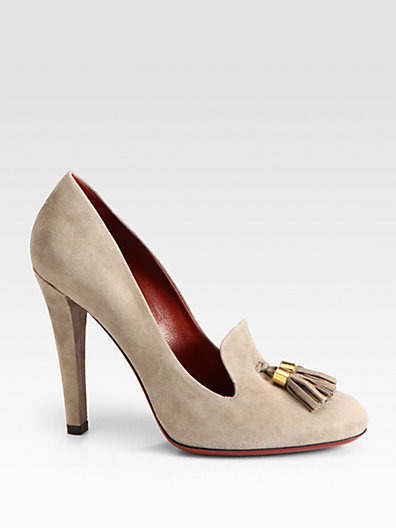 Gucci Mischa Suede Double Tassel Pumps
