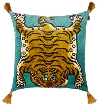 House Of Hackney - Saber Large Tasselled Velvet Cushion - Light Blue