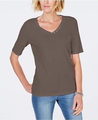 Karen Scott Cotton Rhinestone-Neck T-Shirt