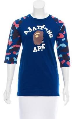 A Bathing Ape Logo Graphic Print Long Sleeve Top w/ Tags