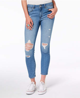 Rewash Juniors' Vintage Reunion Cotton Classic-Rise Ripped Jeans
