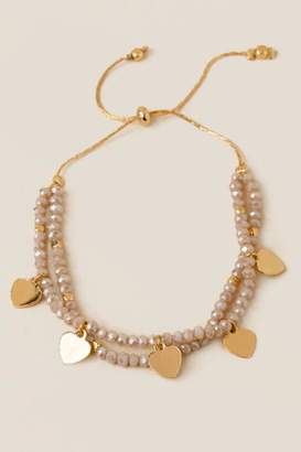 francesca's Morena Beaded Pull Tie Bracelet - Blush