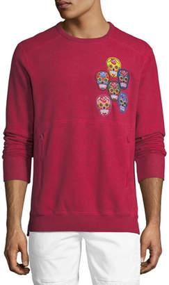 PRPS Skull-Applique Fleece Sweatshirt