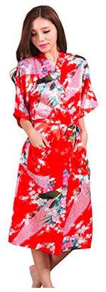 Sirwolf Women's Kimono Wedding Robe long Peacock Design Robe Printing Lotus Sleeve Silk