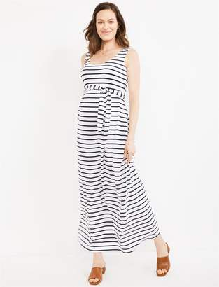 A Pea in the Pod Tie Front Sleeveless Maxi Maternity Dress